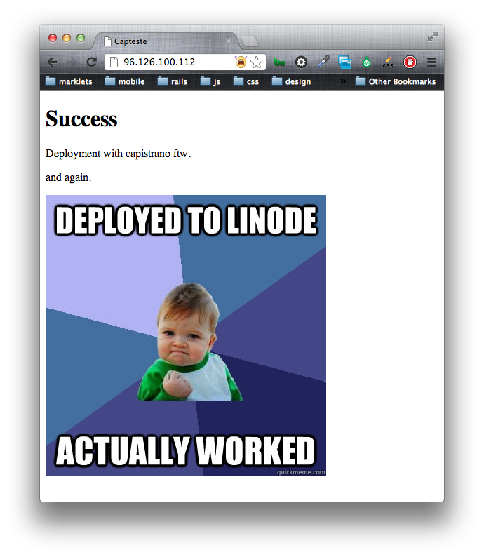 Success Kid: Deployed to Linode. Actually Worked.